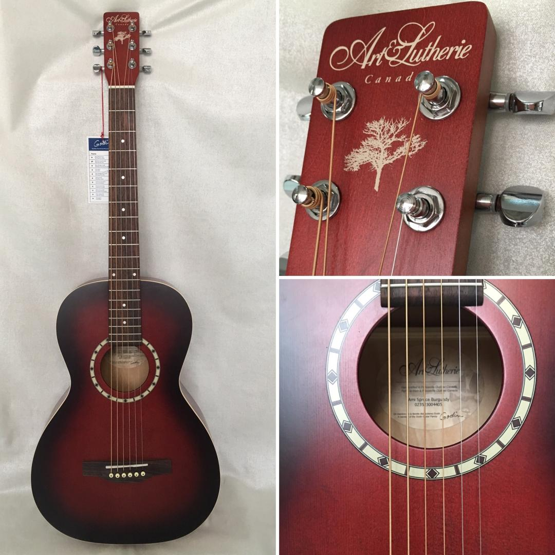 ART ET LUTHERIE AMI PARLOR BURGUNDY GUITARE ACOUSTIQUE PARLOR LUTHIER CANADIEN BURGUNDY SATINE. TABLE EPICEA MASSIF. FOND & ECLISSES MERISIER. MANCHE ERABLE. TOUCHE & CHEVALET PALISSANDRE. MECANIQUE BAIN D'HUILE.